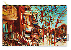 Carry-all Pouch featuring the painting Winter Staircase by Carole Spandau