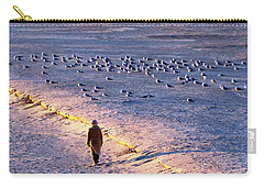 Carry-all Pouch featuring the photograph Winter Time At The Beach by Cynthia Guinn