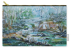 Carry-all Pouch featuring the painting Winter Whispers On Catskill Creek by Ellen Levinson