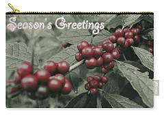 Carry-all Pouch featuring the photograph Winterberry Greetings by Photographic Arts And Design Studio