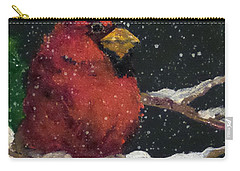 Carry-all Pouch featuring the painting Winter's Red by Jim Phillips