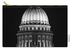 Wisconsin State Capitol Building At Night Black And White Carry-all Pouch