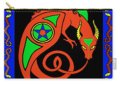 Carry-all Pouch featuring the digital art Witches Dragon by Vagabond Folk Art - Virginia Vivier