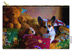 With His Friends On The Bed Carry-all Pouch