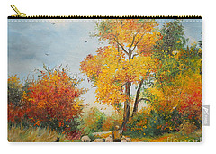 With Sheep On Pasture  Carry-all Pouch by Sorin Apostolescu