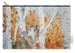 Carry-all Pouch featuring the painting Wolf Call by Ellen Levinson