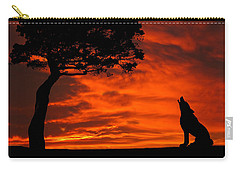 Wolf Calling For Mate Sunset Silhouette Series Carry-all Pouch by David Dehner