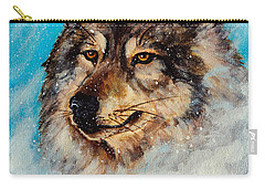 Carry-all Pouch featuring the painting Wolf In A Snow Storm by Bob and Nadine Johnston