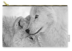 Wolf Love Black And White Carry-all Pouch