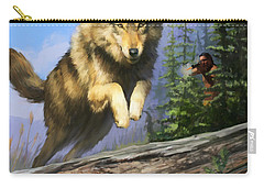 Carry-all Pouch featuring the painting Wolf Run Indian Hunter by Rob Corsetti
