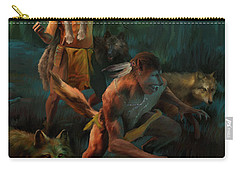 Carry-all Pouch featuring the painting Wolf Warriors Change by Rob Corsetti