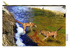 Carry-all Pouch featuring the digital art Wolves by Daniel Janda