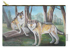 Carry-all Pouch featuring the painting Wolves In The Forest by Thomas J Herring