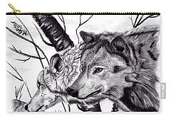 Carry-all Pouch featuring the drawing Wolves by Mayhem Mediums