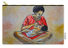 Carry-all Pouch featuring the drawing Woman And Child by Anthony Mwangi