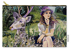 Woman In Hat Dreams With Stag Carry-all Pouch