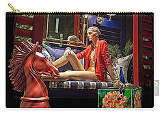 Woman In Orange Carry-all Pouch