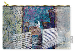 Carry-all Pouch featuring the digital art Woman On A Bench by Cathy Anderson
