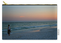 Woman On Beach At Dusk Carry-all Pouch