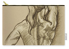 Carry-all Pouch featuring the drawing Woman Sketch by Rob Corsetti