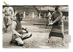 Woman Tennis Star At Bat Carry-all Pouch by Underwood Archives