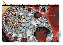 Wonderful Abstract Fractal Spirals Red Grey Yellow And Light Blue Carry-all Pouch by Matthias Hauser