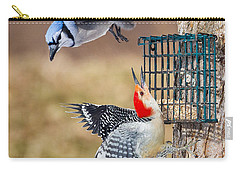 Woodpeckers And Blue Jays Square Carry-all Pouch by Bill Wakeley