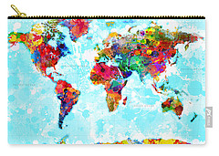 World Map Spattered Paint Carry-all Pouch