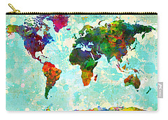 World Map Splatter Design Carry-all Pouch