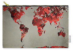 World Map - Watercolor Red-black-gray Carry-all Pouch