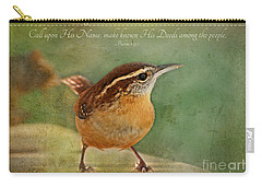 Wren With Verse Carry-all Pouch by Debbie Portwood
