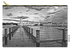 Yacht And Beach Lighthouse In Black And White Walt Disney World Carry-all Pouch by Thomas Woolworth