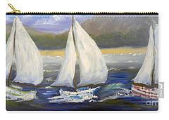 Yachts Sailing Off The Coast Carry-all Pouch by Pamela  Meredith
