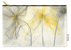 Yellow And Gray Flowers Impressionist Carry-all Pouch