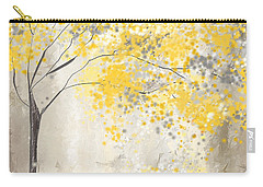 Yellow And Gray Tree Carry-all Pouch