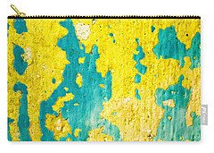 Carry-all Pouch featuring the photograph Yellow And Green Abstract Wall by Silvia Ganora