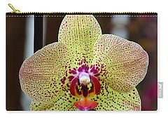Yellow And Maroon Orchid Carry-all Pouch