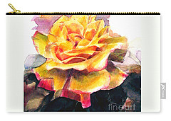 Carry-all Pouch featuring the painting Yellow Rose Fringed In Red by Greta Corens