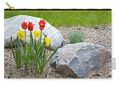 Yellow And Red Tulips With Two Rocks Carry-all Pouch