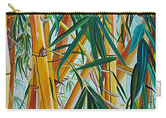 Carry-all Pouch featuring the painting Yellow Bamboo by Marionette Taboniar