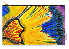 Carry-all Pouch featuring the painting Yellow Blue Flower by Joan Reese