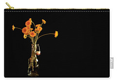 Orange Flowers On Black Background Carry-all Pouch by Don Gradner