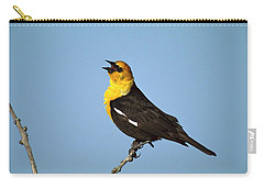 Yellow-headed Blackbird Singing Carry-all Pouch by Tom Vezo