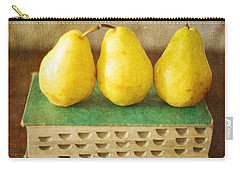Yellow Pears And Vintage Green Book Still Life Carry-all Pouch