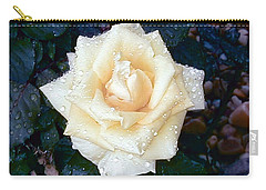 Carry-all Pouch featuring the photograph Yellow Rose At Dawn by Alys Caviness-Gober