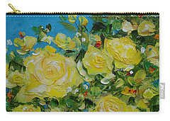 Yellow Roses Carry-all Pouch by Judith Rhue
