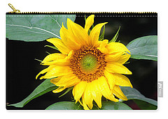 Yellow Sunflower Carry-all Pouch by Trina  Ansel