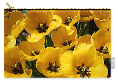 Carry-all Pouch featuring the photograph Golden Tulips In Full Bloom by Dora Sofia Caputo Photographic Art and Design