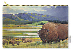 Carry-all Pouch featuring the painting Yellowstone Bison by Rob Corsetti
