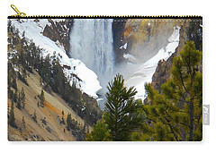 Carry-all Pouch featuring the photograph Yellowstone Lower Falls In Spring by Michele Myers